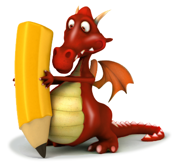 Welcome To Conwy Red Dragon Mascot Holding A Pencil